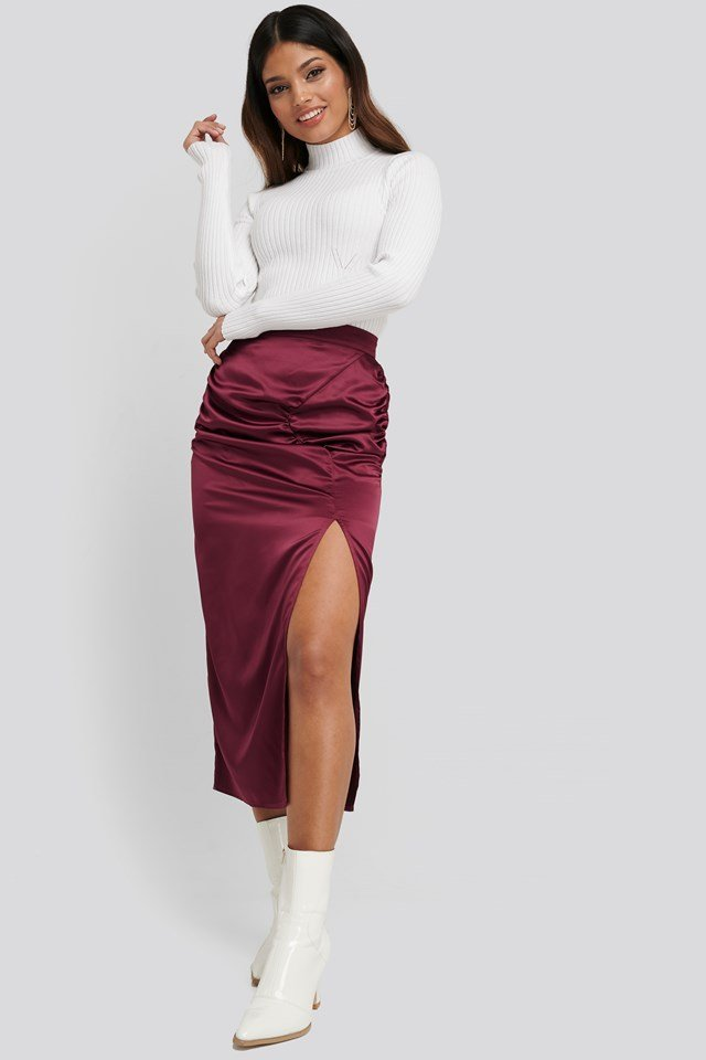 Side Split Draped Skirt Burgundy