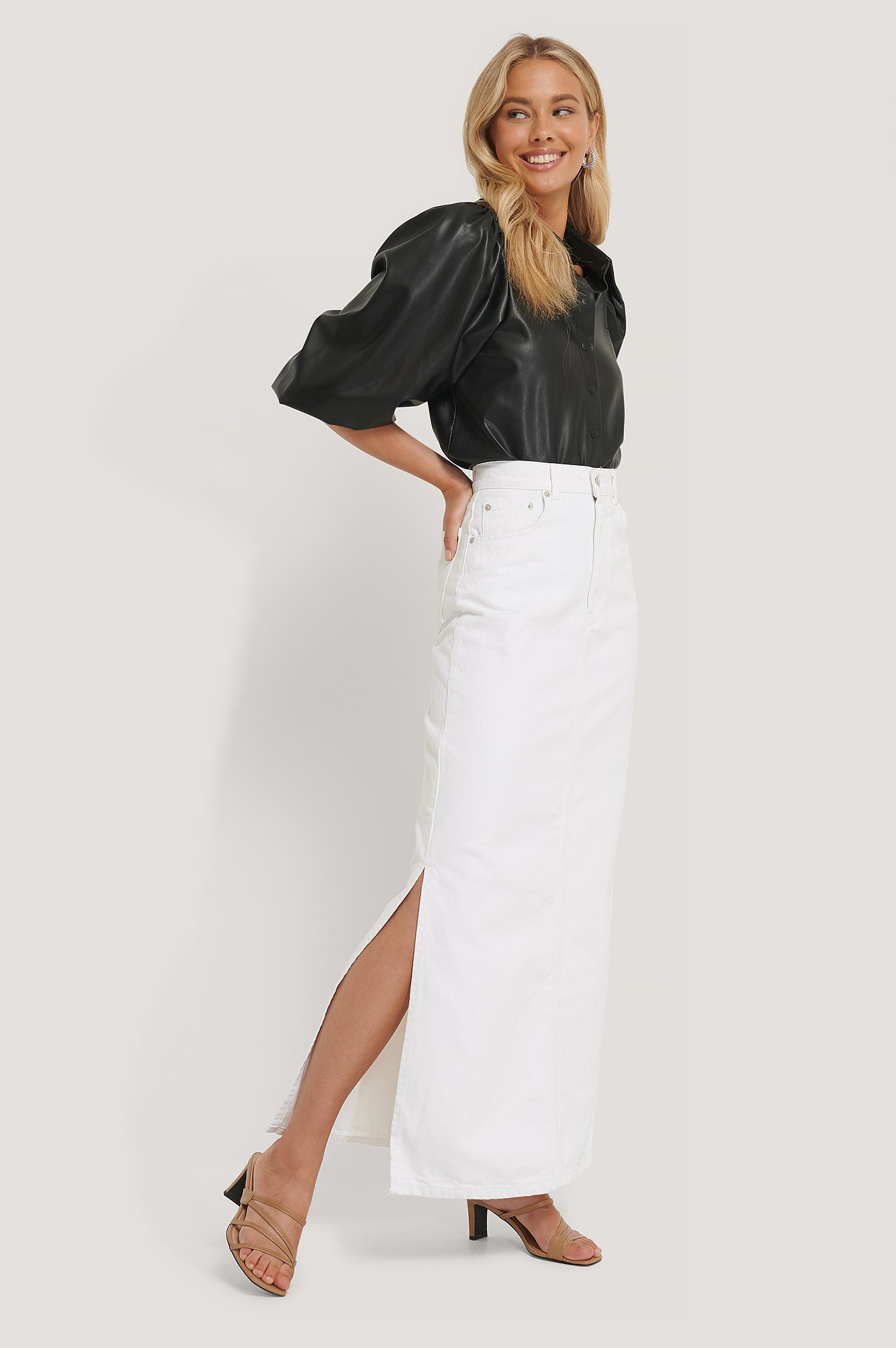 White Side Split Maxi Denim Skirt