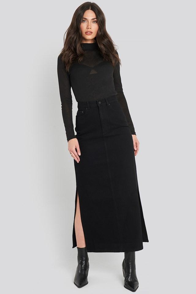 Side Split Maxi Denim Skirt Black