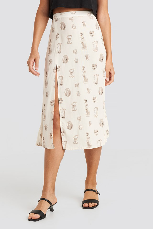 Side Split Midi Skirt Beige