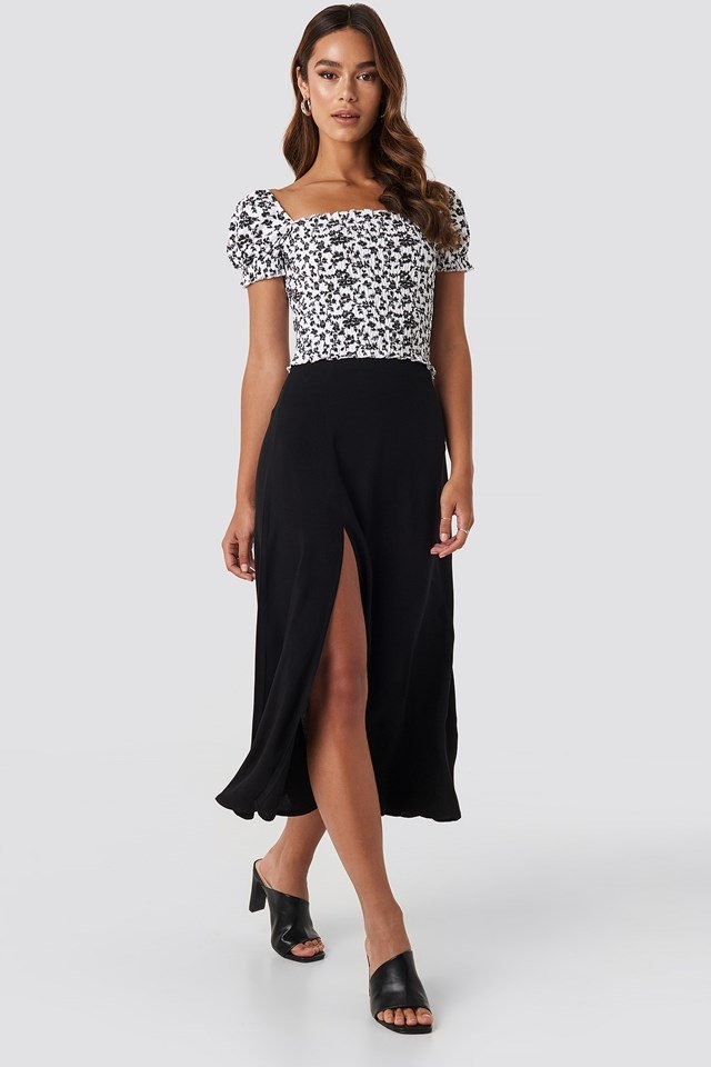 Side Split Midi Skirt Deep Black