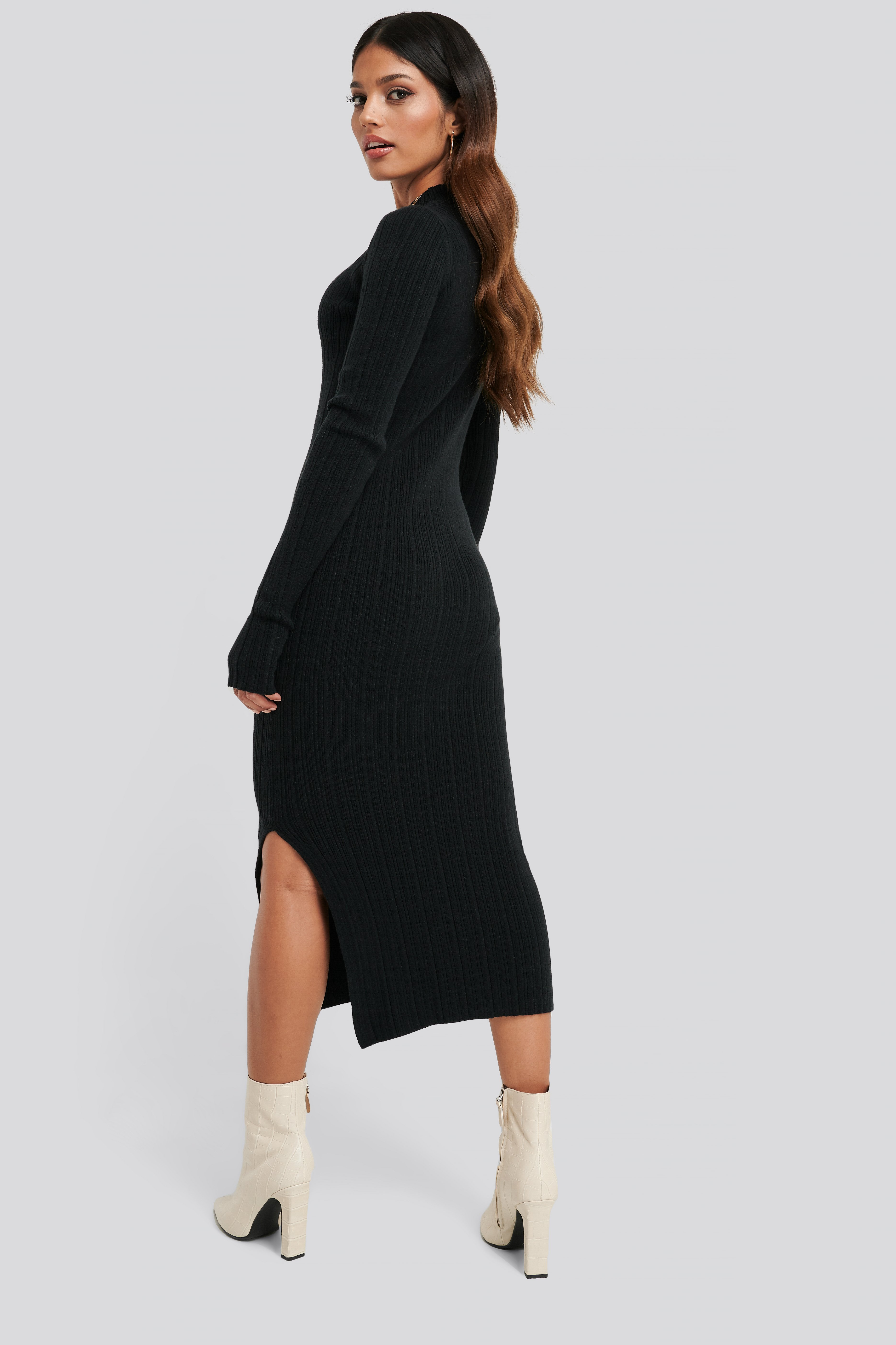 Side Split Ribbed Knit Dress Black by Na Kd