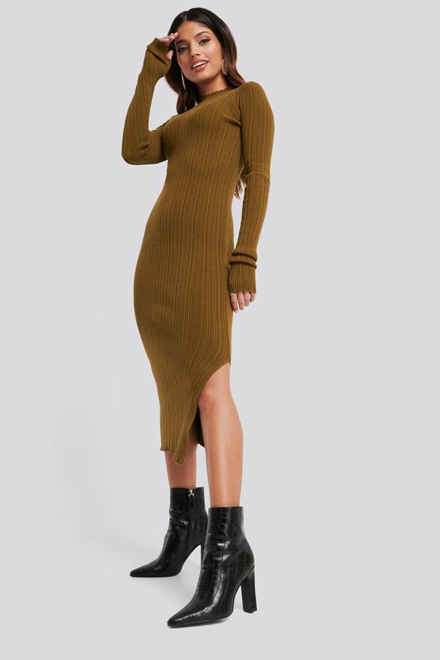 Side Split Ribbed Knit Dress Brown