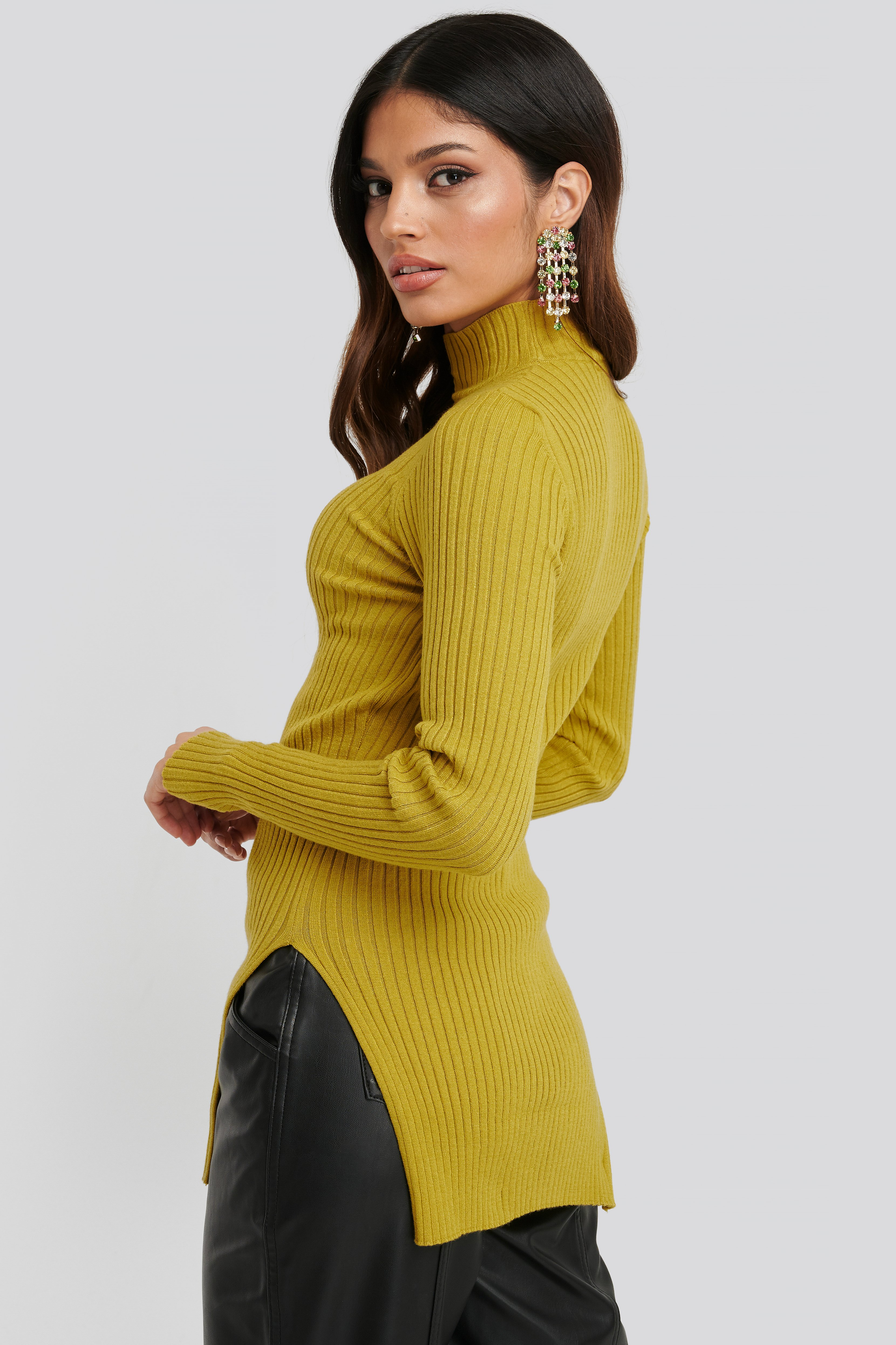 Side Split Ribbed Sweater Yellow by Na Kd