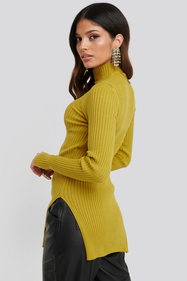 Side Split Ribbed Sweater Yellow