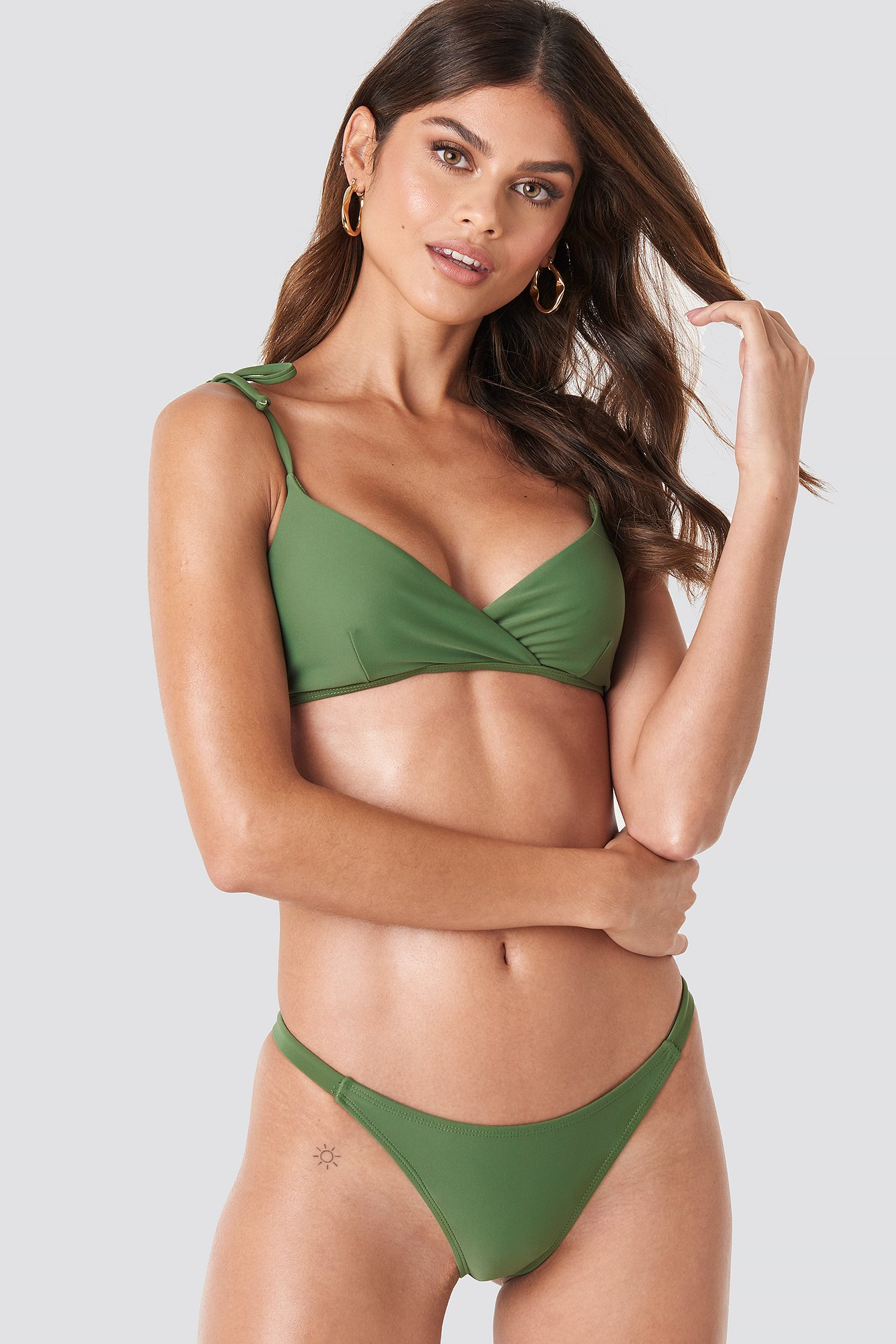na-kd swimwear -  Side Strap Bikini Panty - Green
