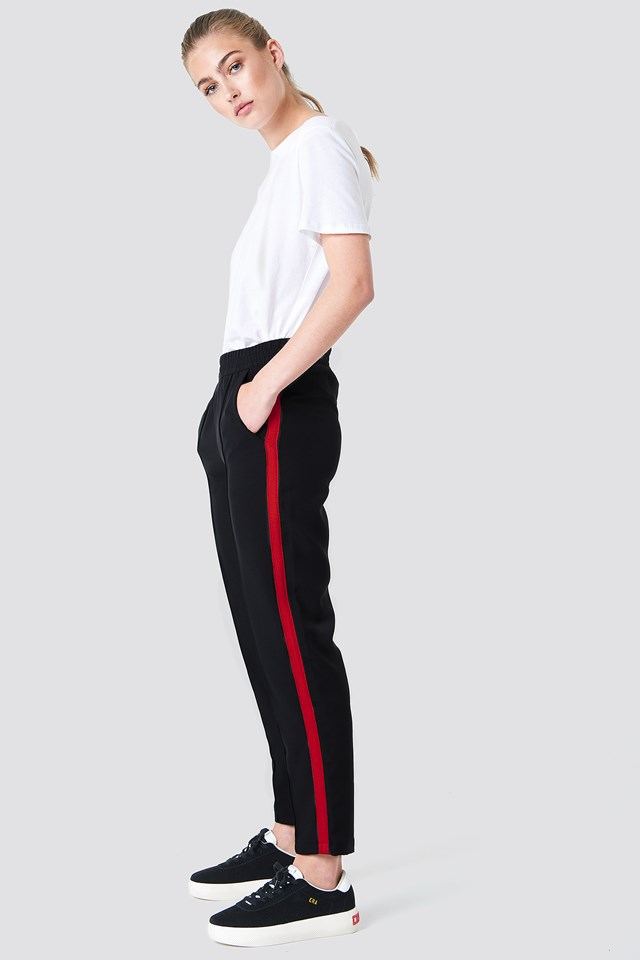 Side Stripe Joggers Black