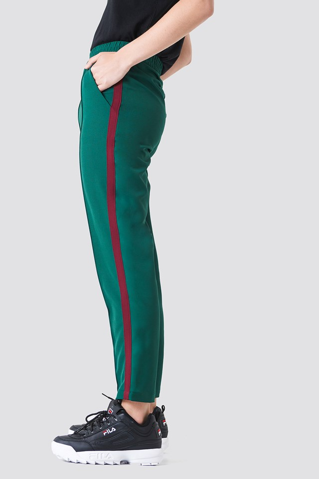 Side Stripe Joggers Green