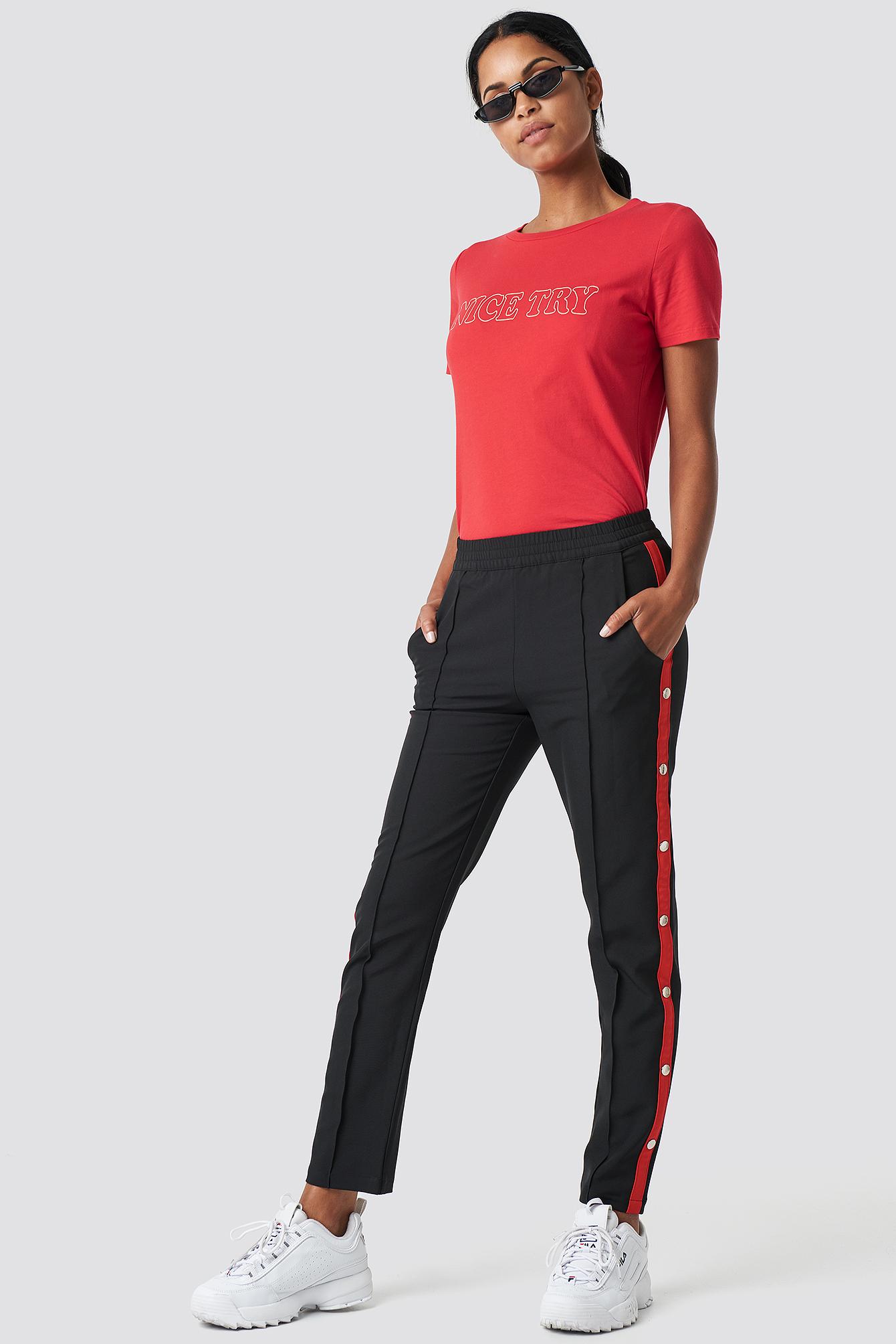 Side Stripe Popper Pants NA-KD.COM