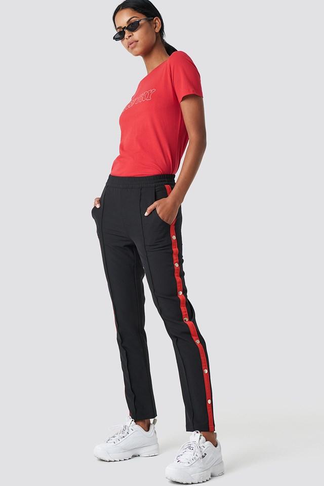 Side Stripe Popper Pants Black