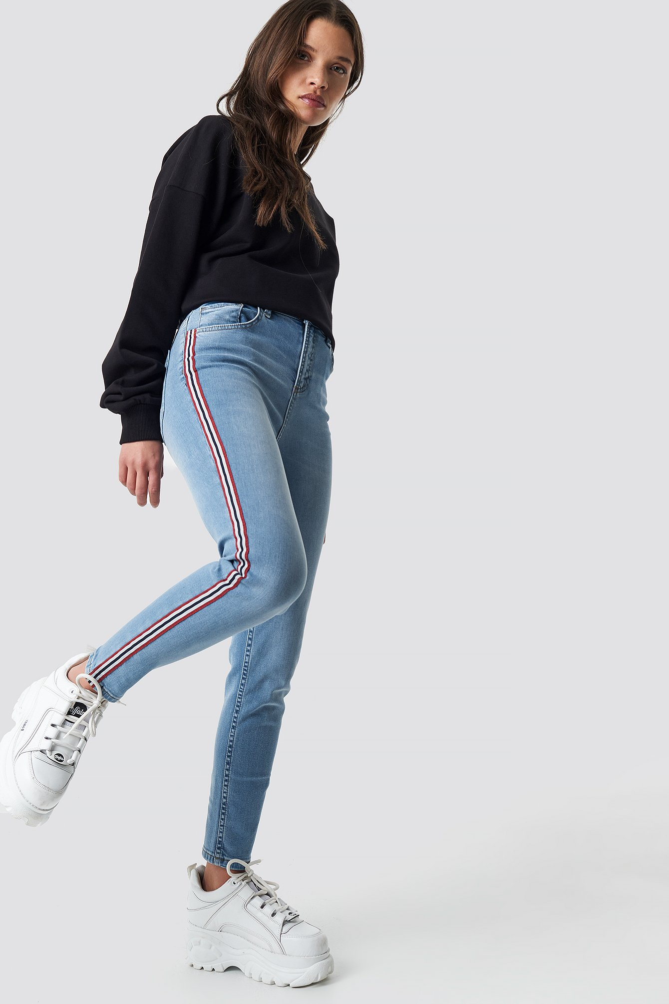 Side Striped Skinny Jeans NA-KD.COM