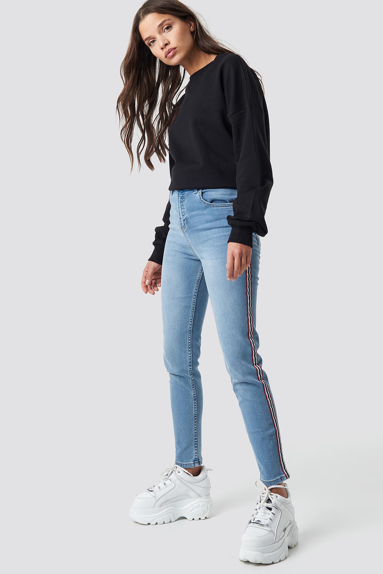 Side Striped Skinny Jeans NA-KD.COM