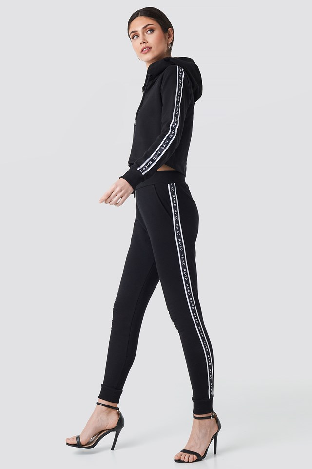 Side Tape High Waist Joggers Black