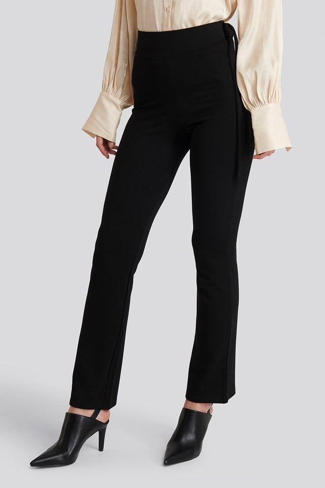 Side Tie Elastic Waist Pants Deep Black
