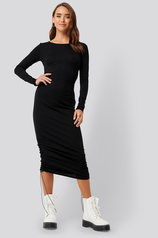 Side Tie Ruched Long Sleeve Dress Black