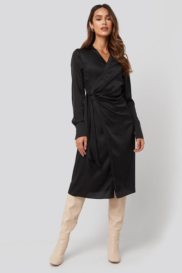 Side Tie Satin Midi Dress Black