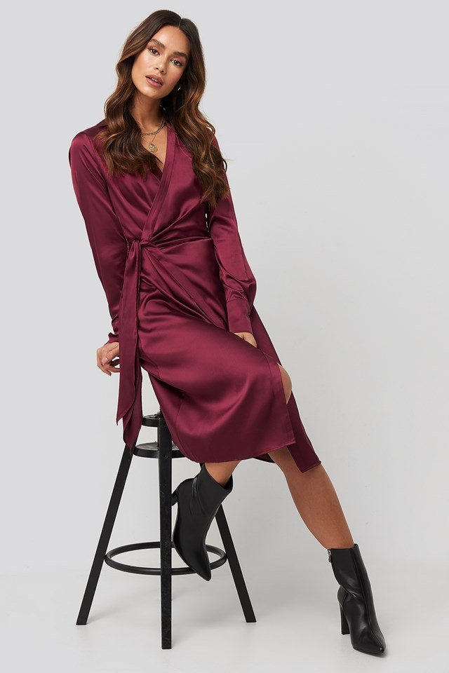 Side Tie Satin Midi Dress NA-KD Trend