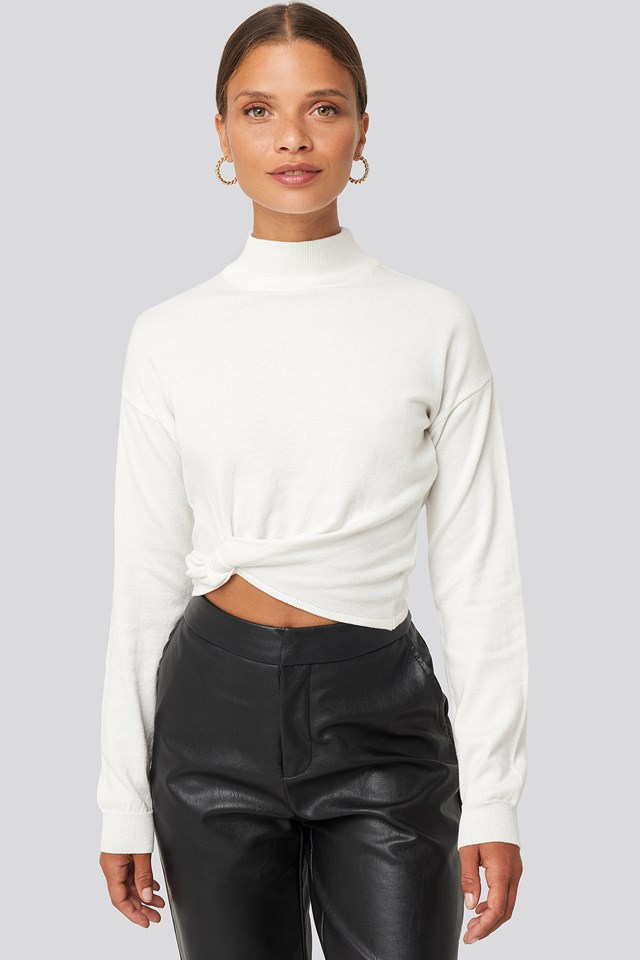 Side Twisted Sweater White