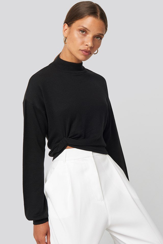 Side Twisted Sweater Black