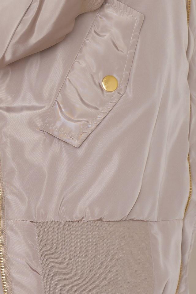 Side Zippers Bomber Jacket Beige