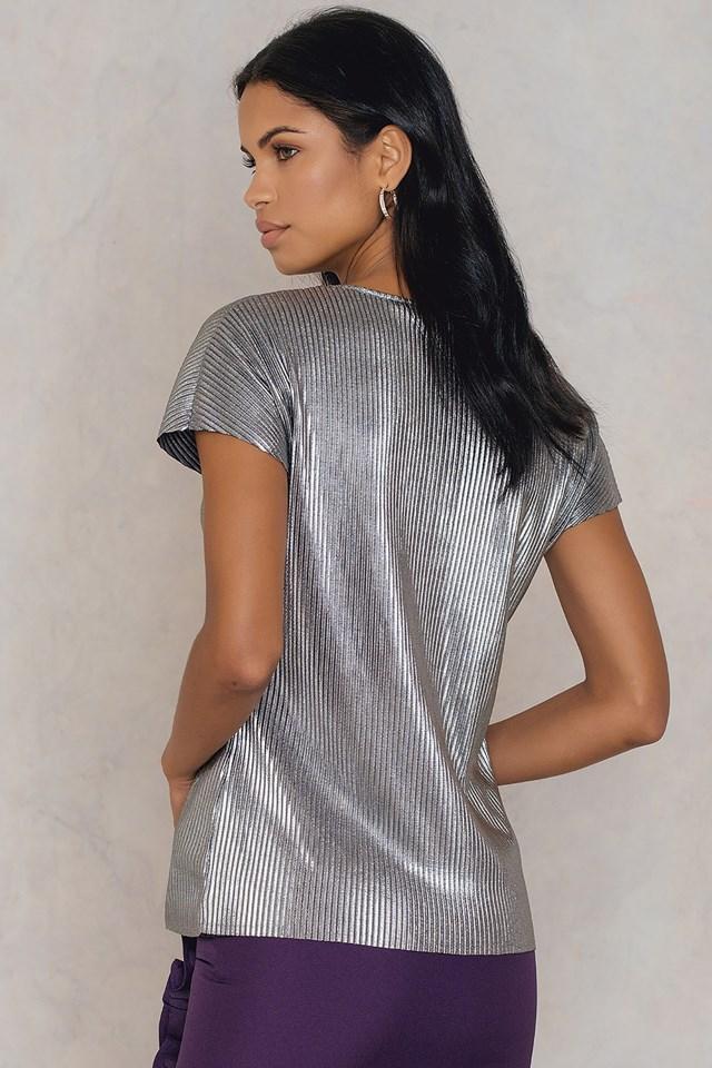 Silver Pleated V-Neck Top Dark Silver