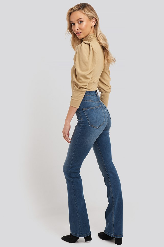 Skinny Bootcut Jeans Mid Blue