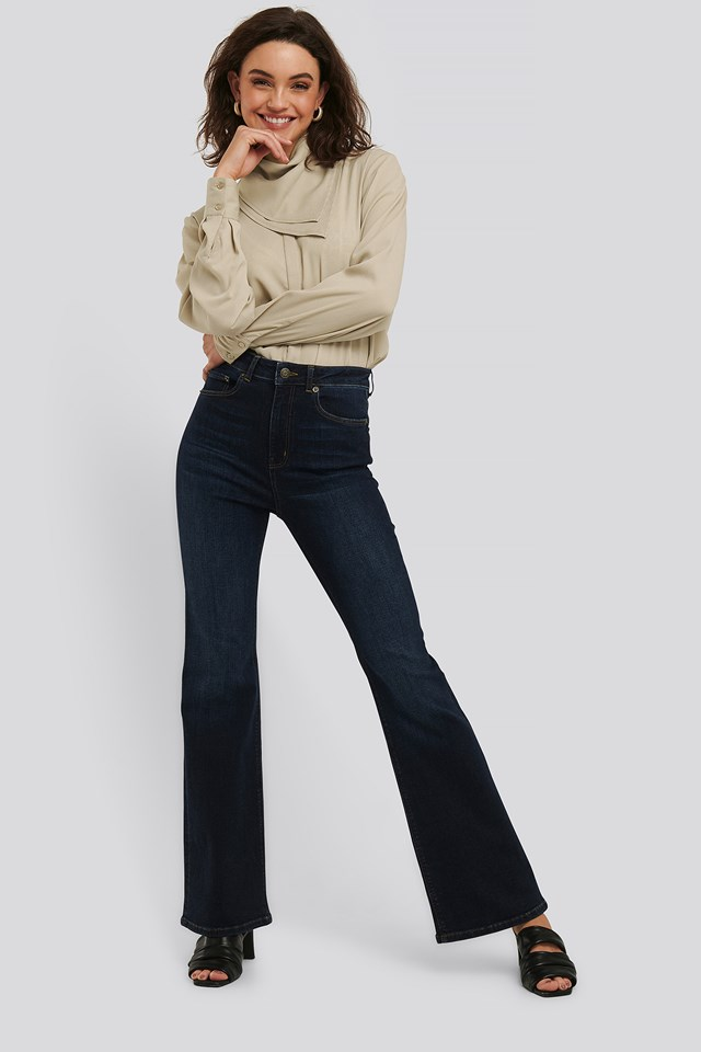 Skinny Flare Jeans Indigo Blue