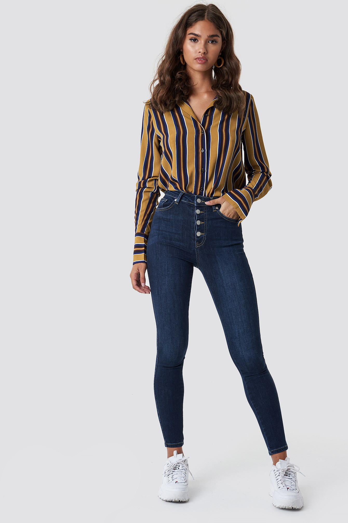 Jeansy Skinny High Waist Button Zipper NA-KD.COM