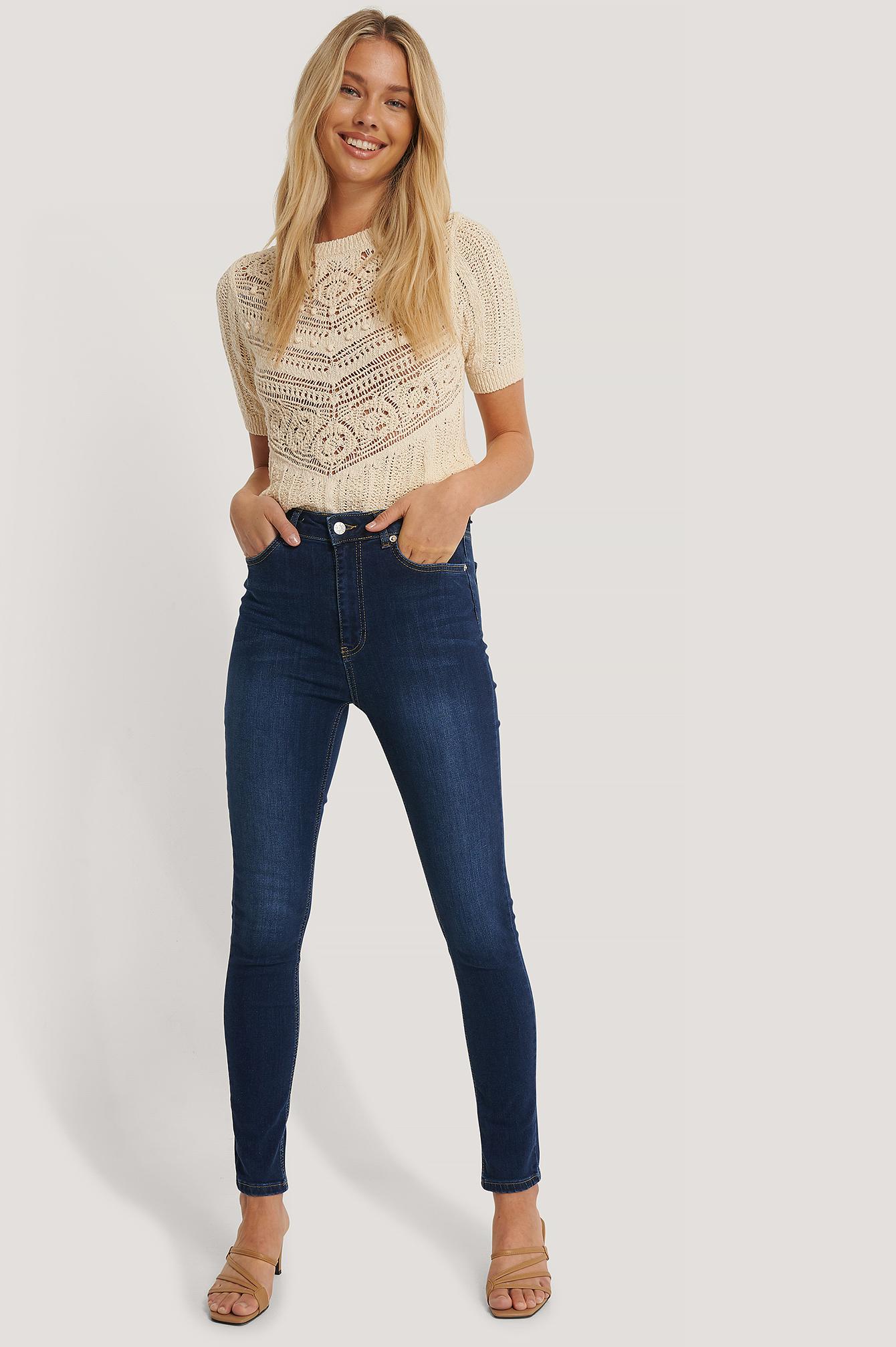 NA-KD Skinny High Waist Jeans - Blue