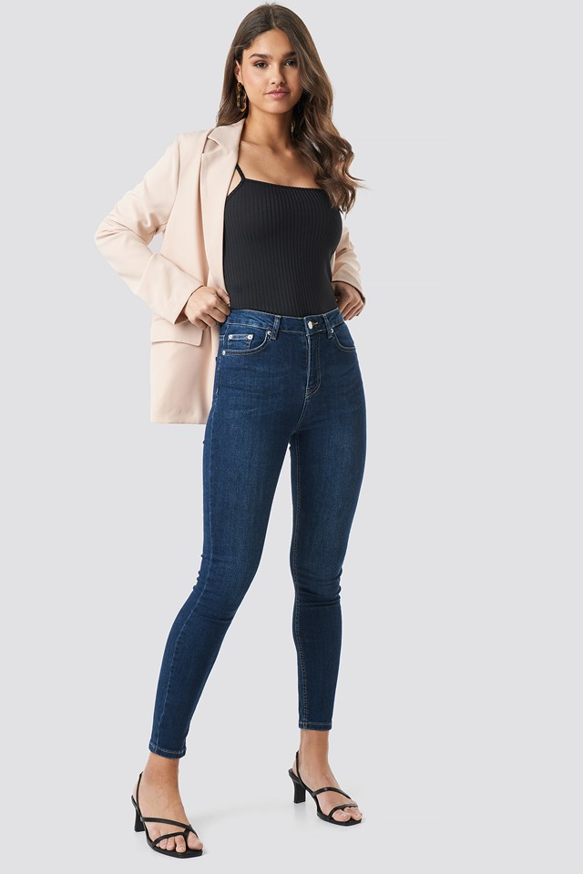 Skinny High Waist Jeans Dark Blue