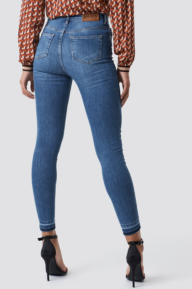 Skinny High Waist Open Hem Jeans Mid Blue