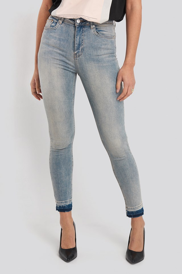 Jeansy Skinny High Waist Open Hem Washed Blue