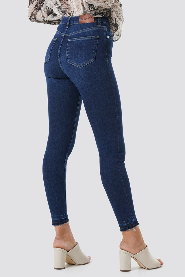 Skinny High Waist Open Hem Jeans Dark Blue