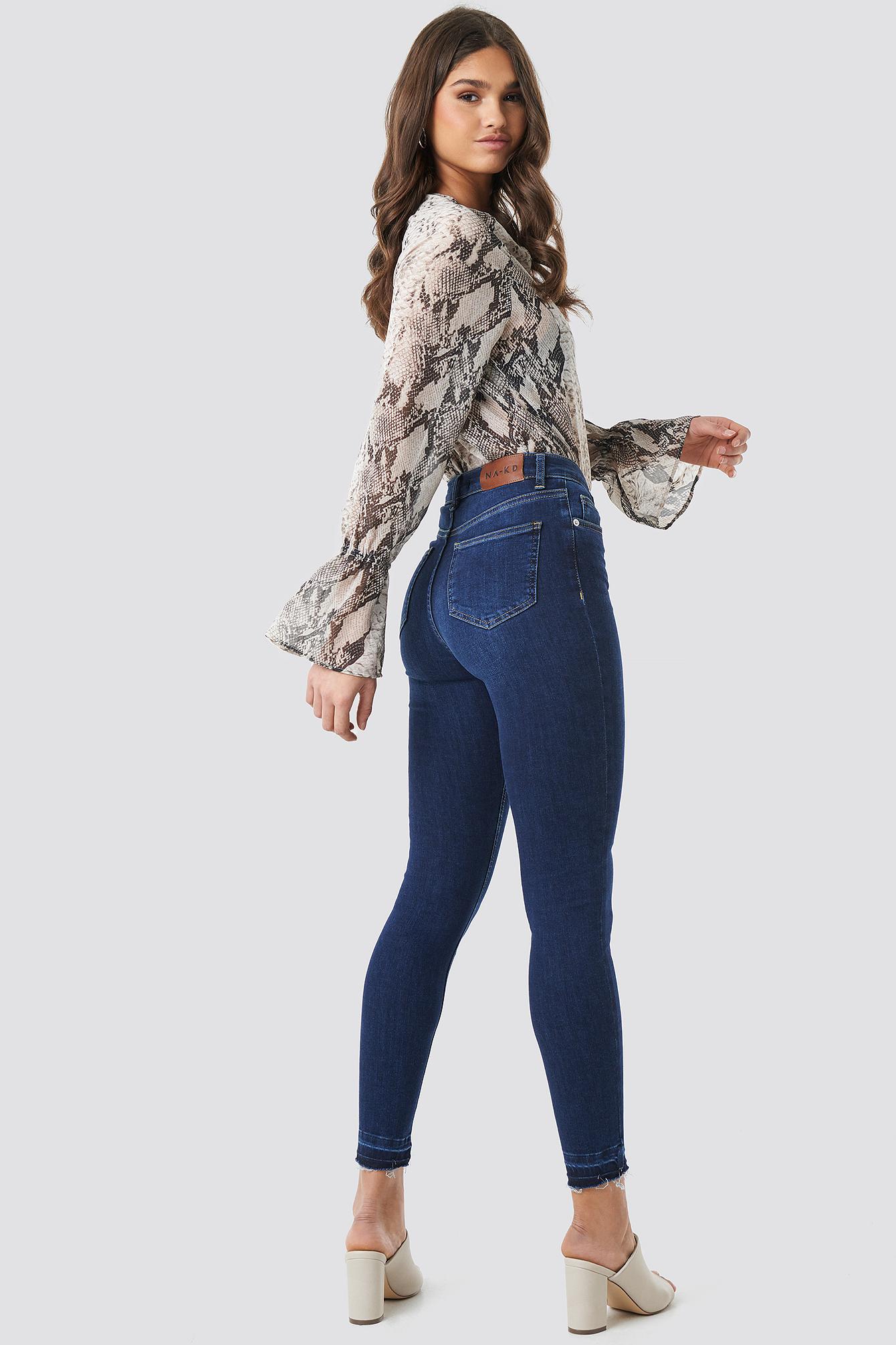 Jeansy Skinny High Waist Open Hem NA-KD.COM