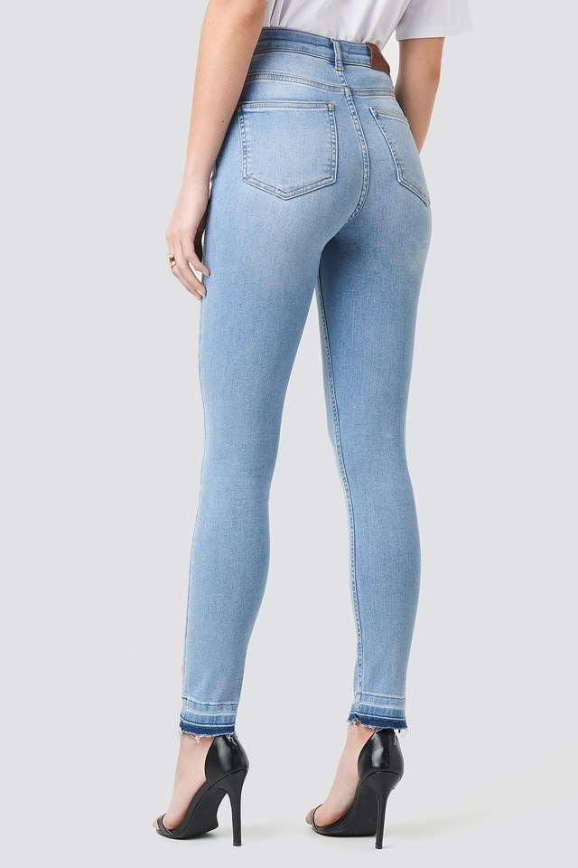 Skinny High Waist Open Hem Jeans Light Blue