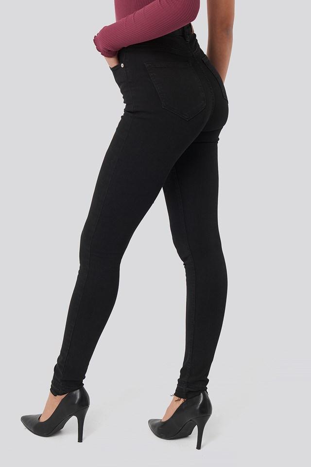 Skinny High Waist Open Hem Jeans Tall Black
