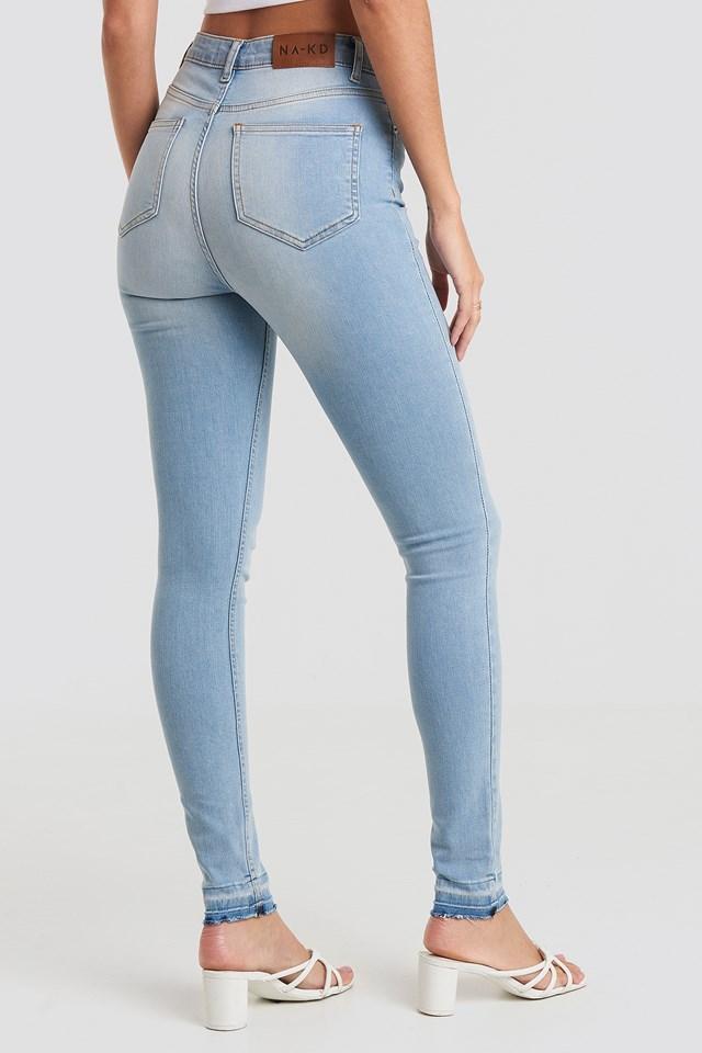 Skinny High Waist Open Hem Jeans Tall Light Blue