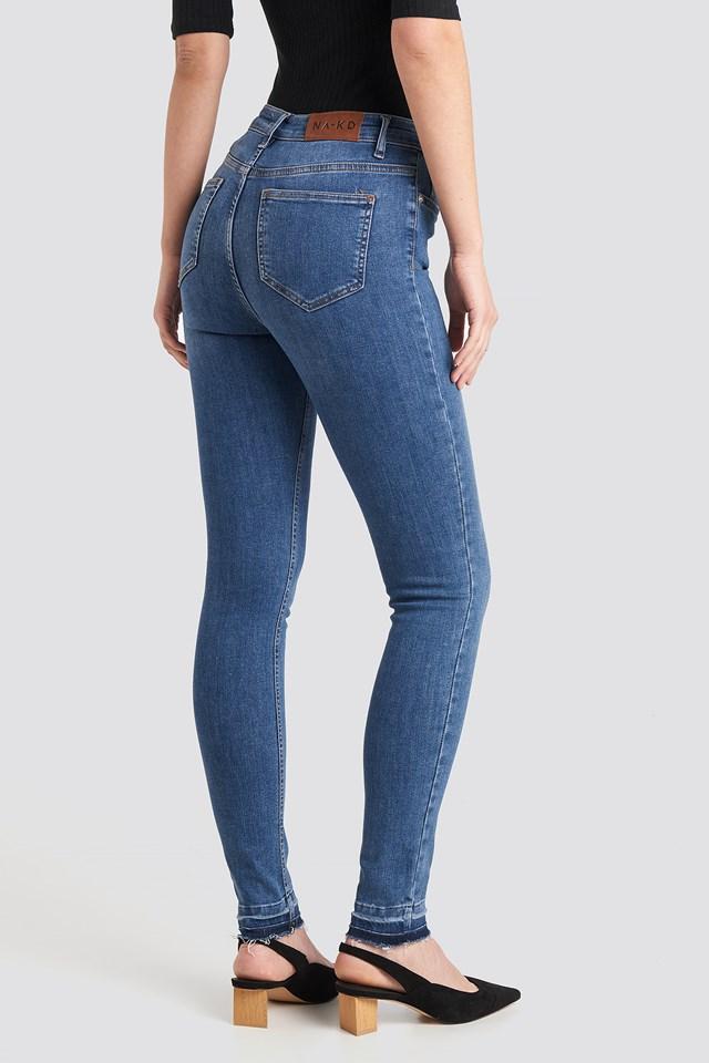 Skinny High Waist Open Hem Jeans Tall Mid Blue