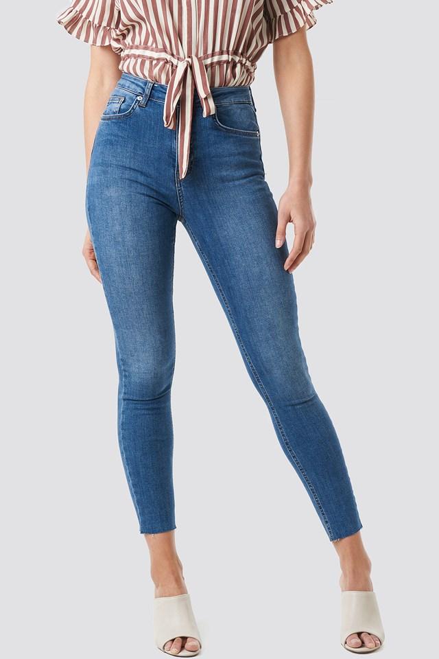 Skinny High Waist Raw Hem Jeans Mid Blue