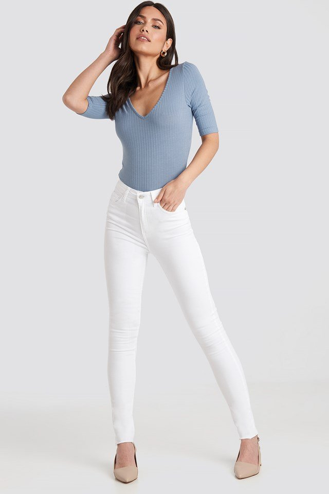 Skinny High Waist Raw Hem Jeans Tall White