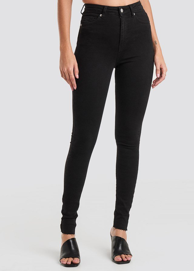 Skinny High Waist Raw Hem Jeans Tall Black