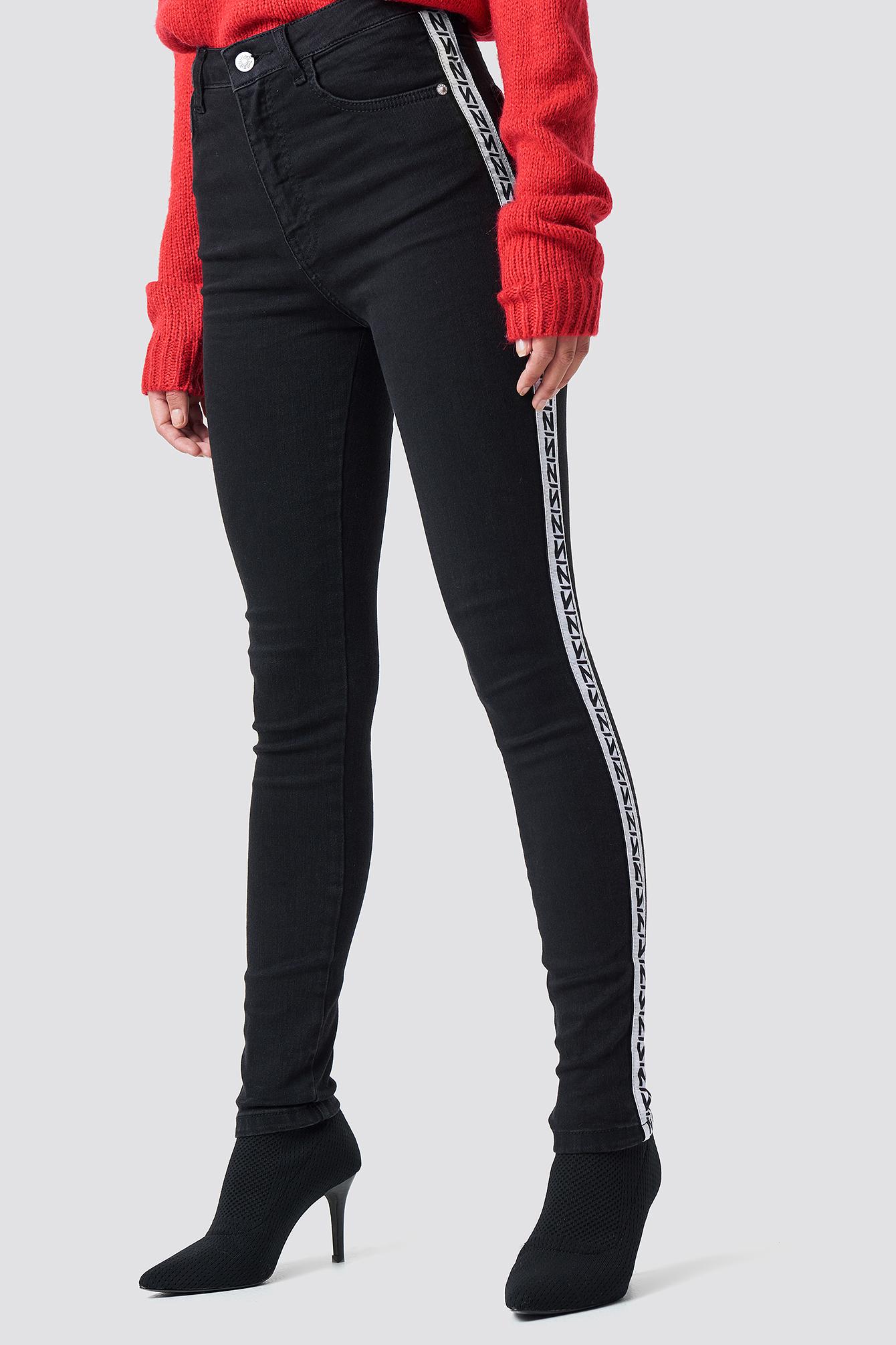 Jeansy Skinny High Waist Side Stripe NA-KD.COM