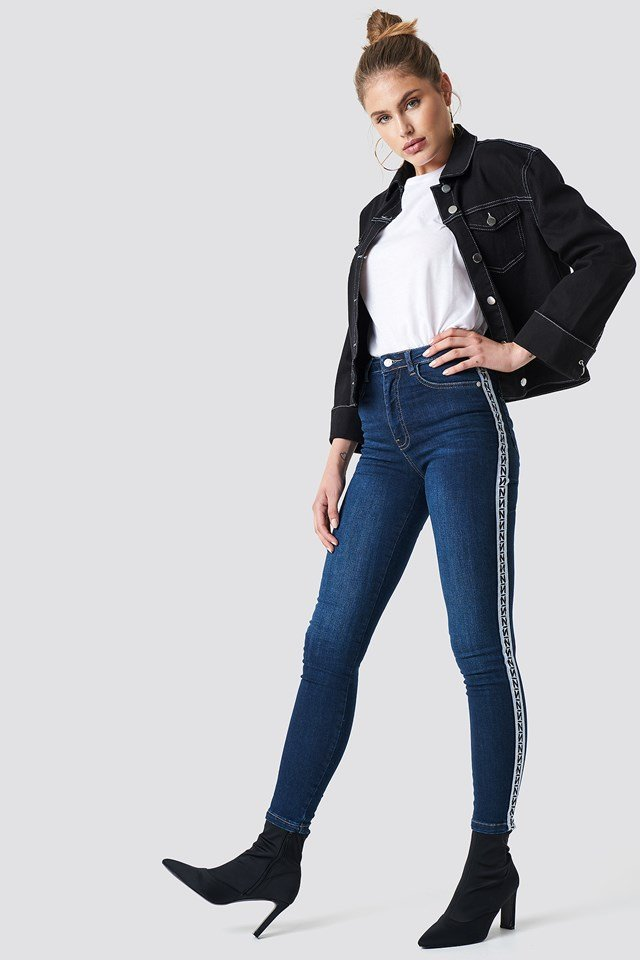 Skinny High Waist Side Stripe Jeans NA-KD.COM