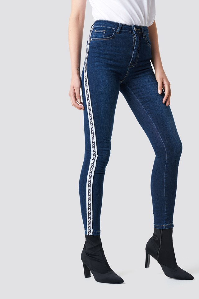 Skinny High Waist Side Stripe Jeans Dark Blue