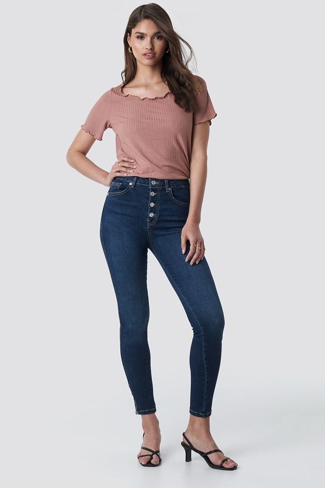 Skinny High Waist Zipper Jeans Dark Blue