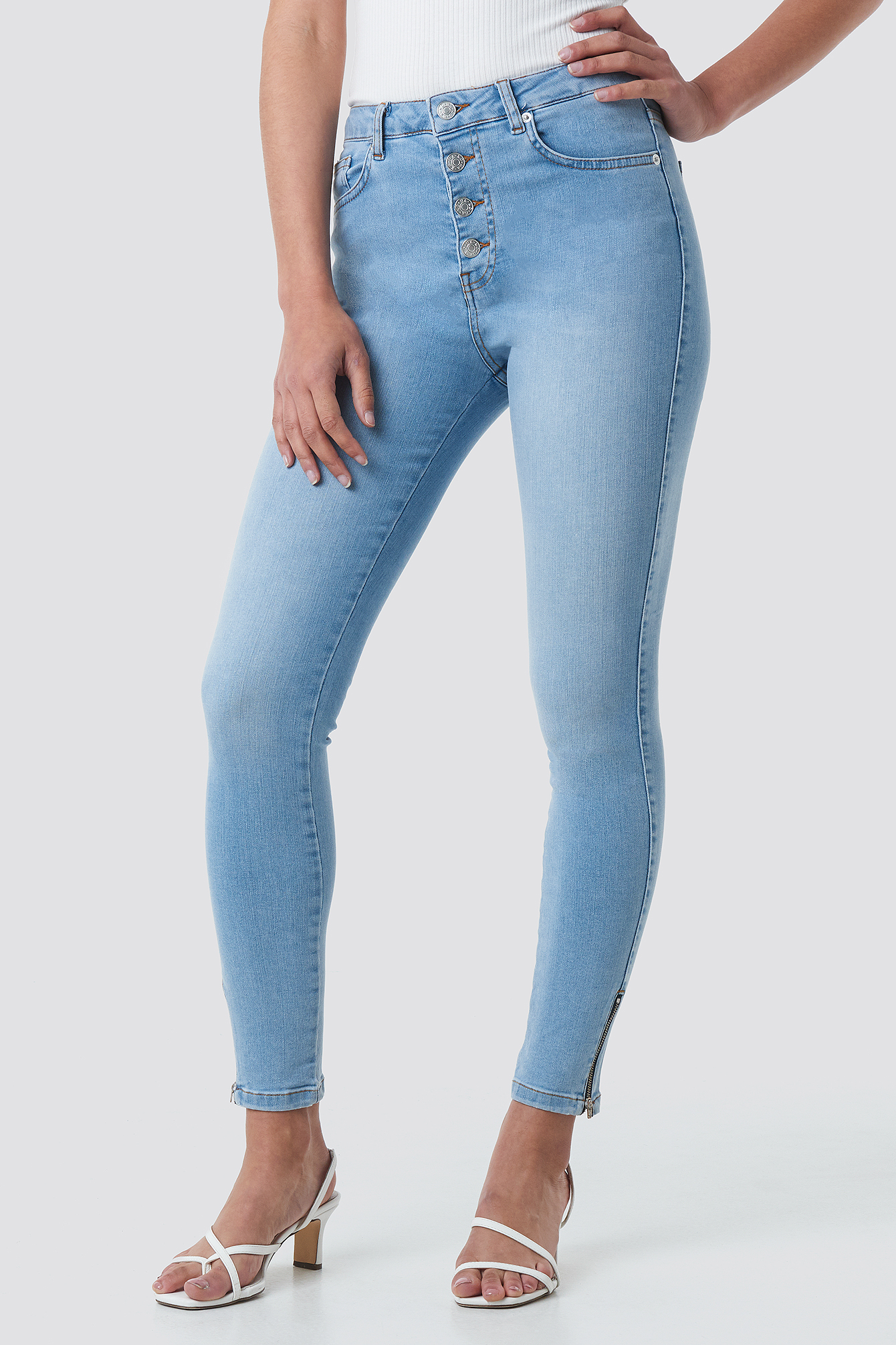 Skinny High Waist Zipper Jeans NA-KD.COM