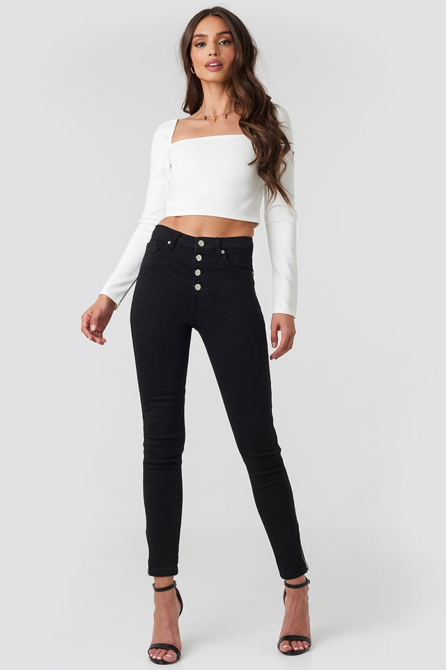 Skinny High Waist Zipper Jeans Black