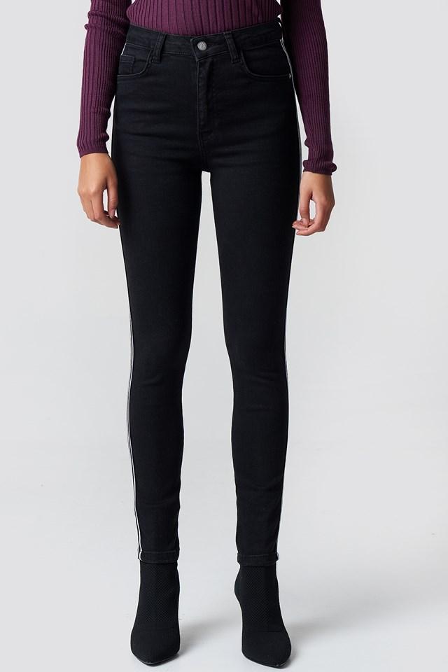 Skinny High Waist Side Stripe Jeans NA-KD.COM