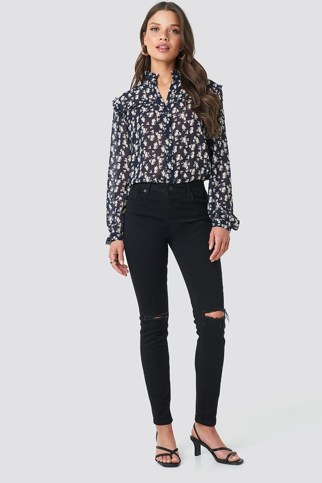 Skinny Mid Rise Ankle Jeans Black