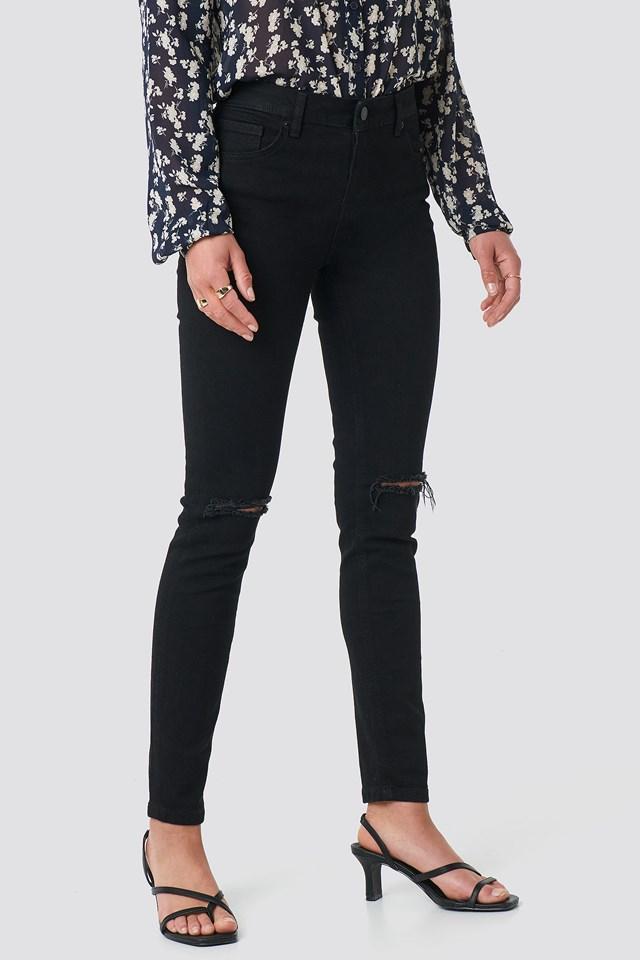 Skinny Mid Rise Ankle Jeans Black